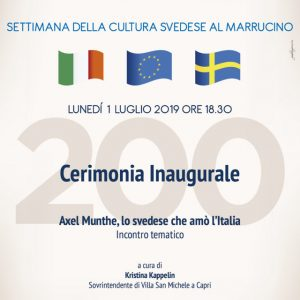 CERIMONIA INAUGURALE – Incontro tematico AXEL MUNTHE, LO SVEDESE CHE AMO' L'ITALIA